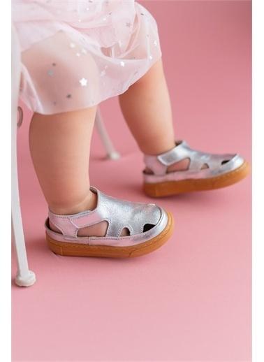 First Step Hakiki Deri Çocuk Sandalet -D-466 Gümüş